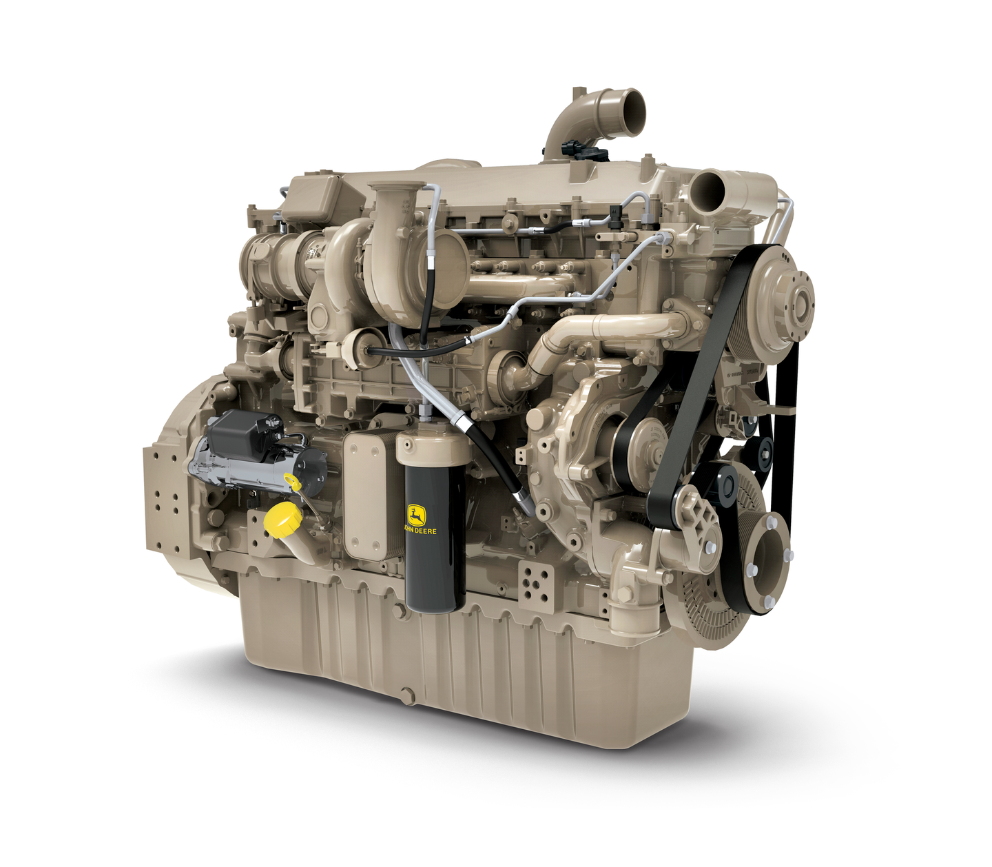 John Deere's 13.6L engine features a next-generation ECU utilizing advanced model-based controls which enhance reliability and transient control.